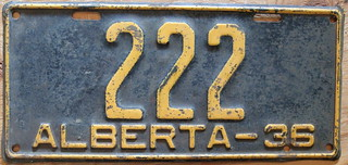 ALBERTA 1936 license plate 222