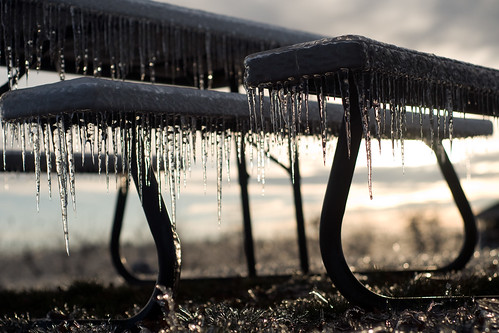 winter ice icestorm icicles picnictable antseyeview salinger agooddayforburleycushions