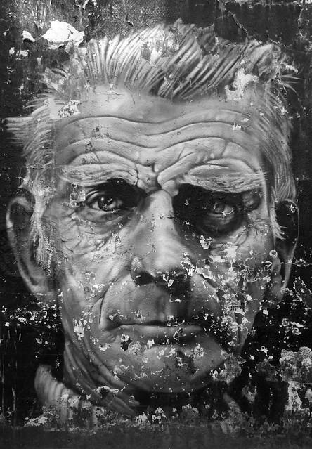 Painted portrait.