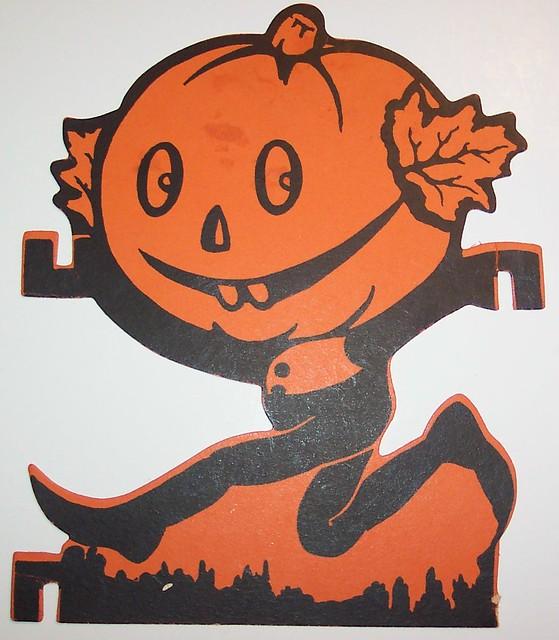 Vintage Halloween Cut Out Pumpkin Man Running