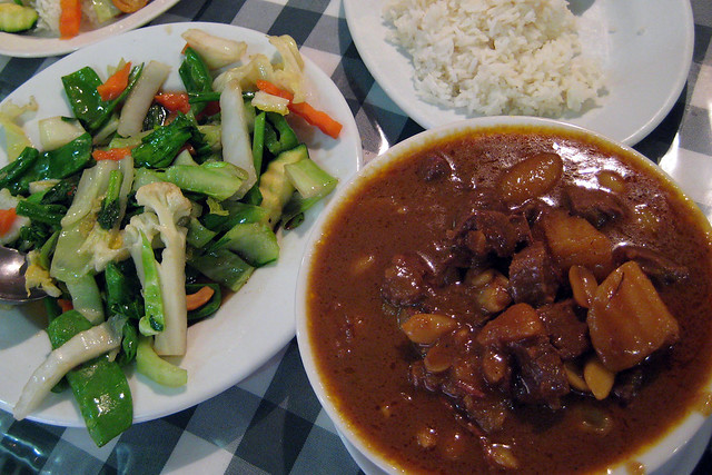 Massaman curry and vegetables
