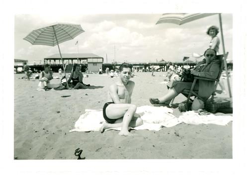 Boy on beach towel