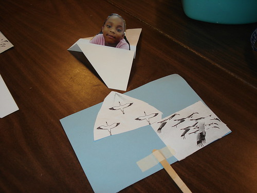 Kindergarteners pretend to Fly with the Cranes in an Ultralight