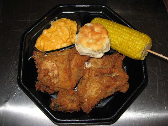 KFC: 3pc breasts and wing meal (original recipe) with mac & cheese and corn on the cob - a photo ...