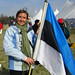 Woman with the Estonian Flag - Washington DC, USA
