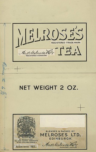 Black and white mock-up of two labels for Melrose Tea