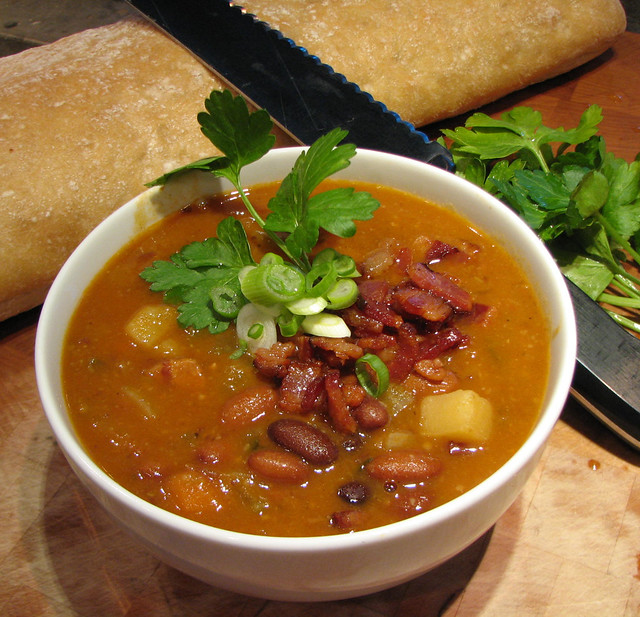 bowl of bean and bacon soup | Flickr - Photo Sharing!