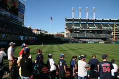 How do the seating rows work at Progressive Field/Cleveland Indians?