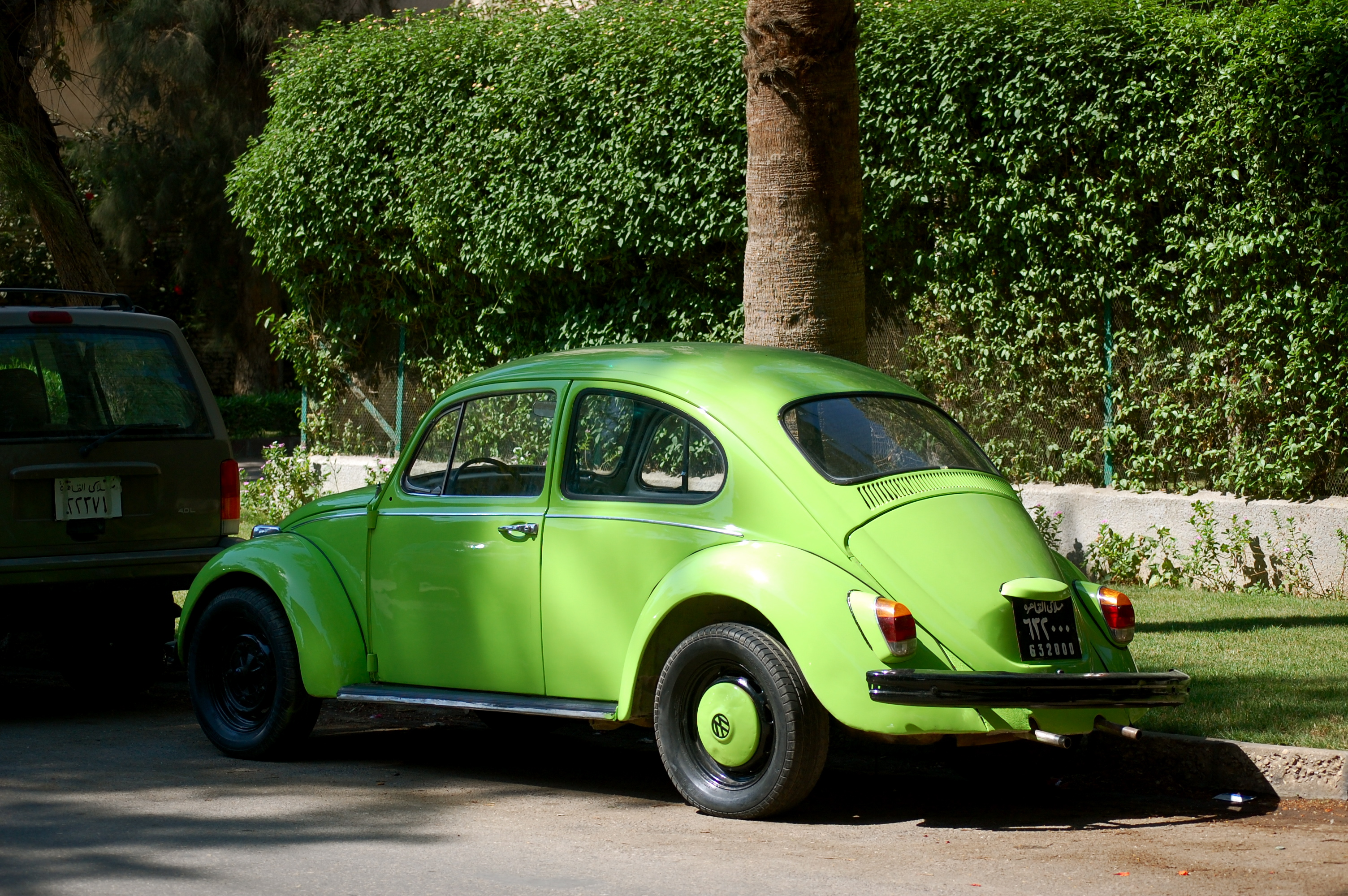 Lime green beetle car