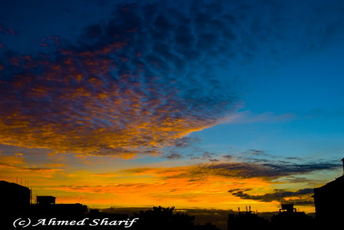city blue autumn red sky orange nature silhouette clouds sunrise buildings nikon cityscape colours dhaka sharat bangladesh daybreak sarath d80 mohammadpur nikkoraf2880f3356g shorot