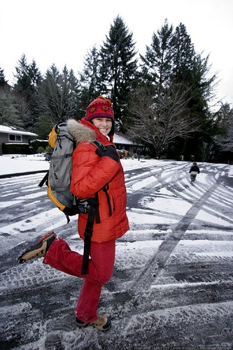 the world's loveliest model of reusable grocery fetching backpacks for snowed in families    MG 3704