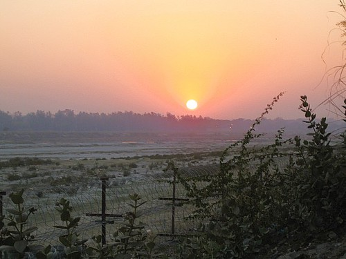 Sunset over Yamuna river, Agra, India
