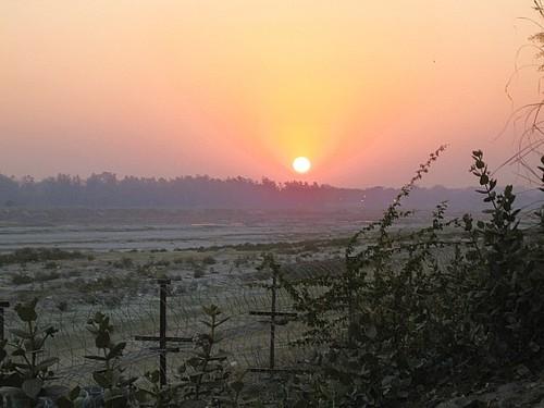 Sunset over Yamuna river, Agra, India