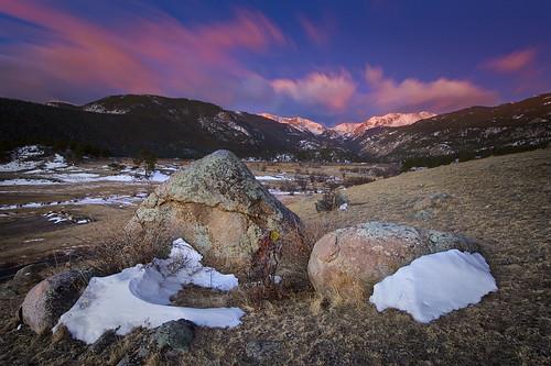 sunset snow color rock clouds sunrise movement colorado lichen estespark rockymountainnationalpark mounatains platinumphoto goldstaraward absolutelystunningscapes