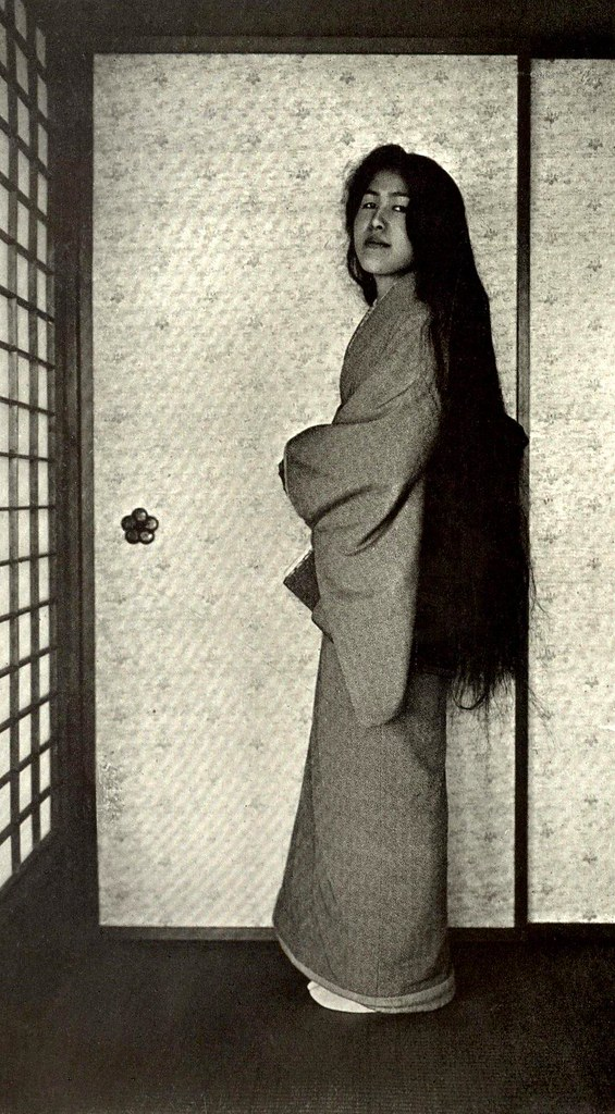 THE REAL HAIR OF A REAL GEISHA --  A Raven-Haired Rapunzel of Japan Shows What Happens When You Wash Out the Famous Geisha Hair-do !
