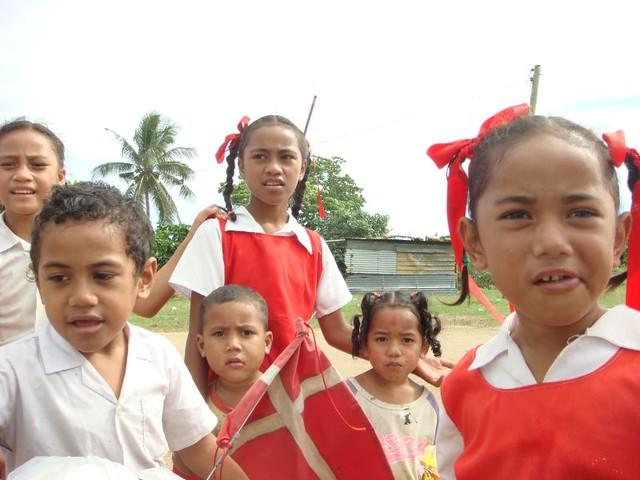Kids on Foa Island, Ha'apai, Tonga.