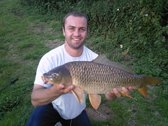 10lb 5oz Common caught by Jan on Moss Lake using ledgered pellets, caught on 4th July 2008.