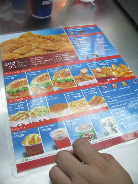 KFC menu @Malaysia | Flickr - Photo Sharing!