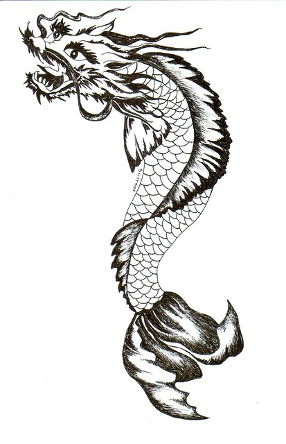 Koi dragon drawing in pen koi dragon by dsdesigns for Black dragon koi
