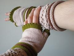 Impulse - Ivory ... Knitted/Crocheted Fingerless Gloves