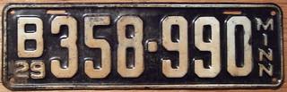 MINNESOTA 1929 LICENSE PLATE