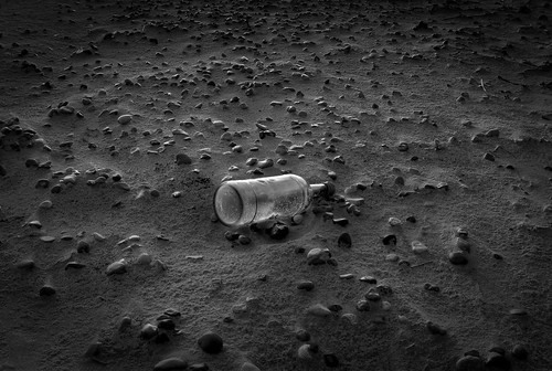 Monochrome message in a bottle