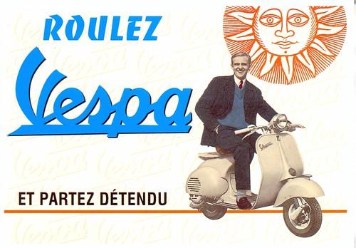 postcard - carte postale - vespa  by sonobugiardo