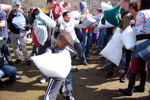 International Pillow Fight Day - Copley Square, Boston