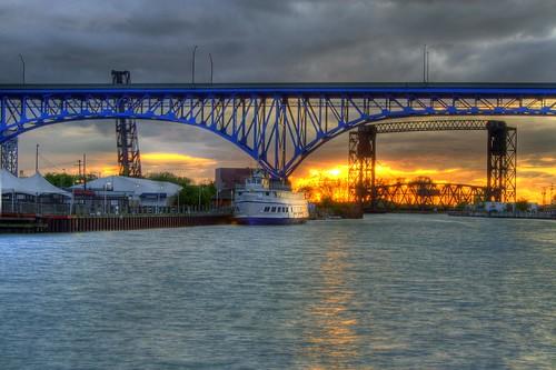 bridge sunset ohio cleveland hdr highdynamicrange cuyahogariver theflatshdr