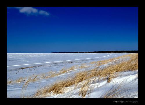 blue winter sky usa cloud lake snow ice nature grass d50 landscape michael nikon michigan micha huron schaefer