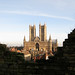 Small photo of Lincoln Cathedral behind the wall