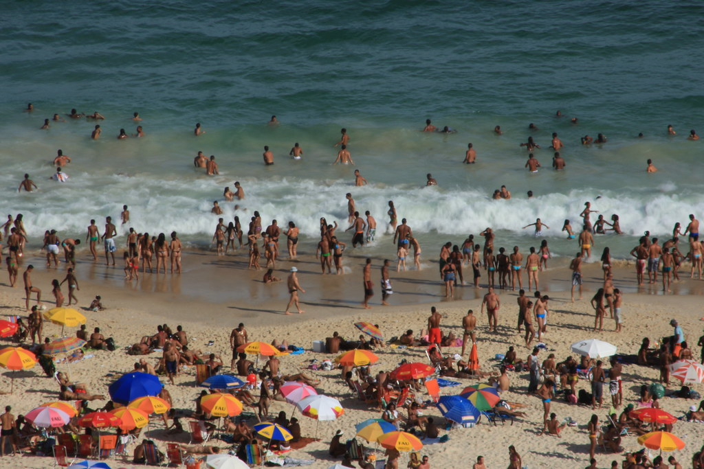 People at Copacabana beach from high above