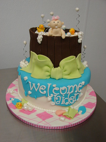 Welcome Baby Cake Decoration : Welcome Jaiden Baby Girl Shower Cake - a photo on Flickriver