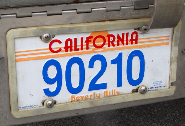Fake california license plate with the famous 90210 zip for 90214 zip code