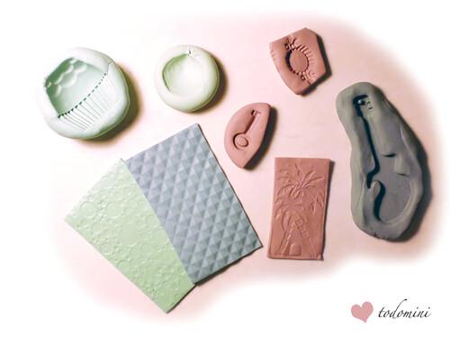 Moldes y texturas caseras de arcilla polimérica