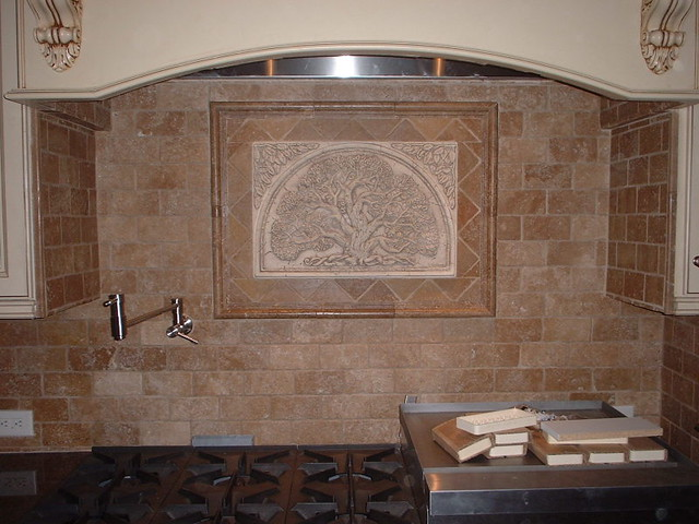 Travertine Tile Backsplash Tumbled Cappuccino 3x6 S 4x4