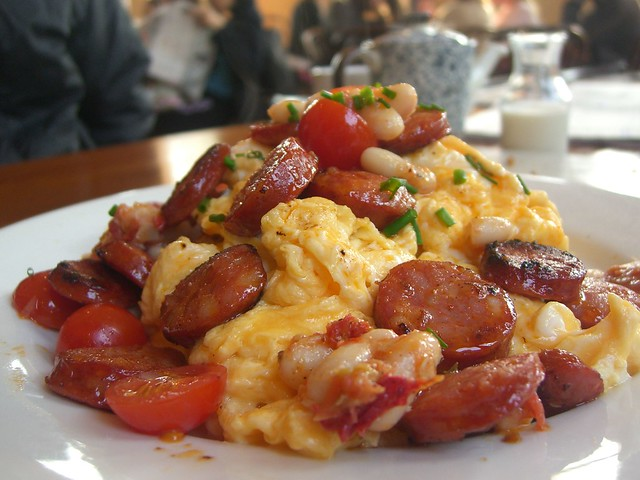 Scrambled Eggs with Chorizo, Cannelini Beans, Cherry Tomatoes - The ...