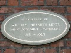Photo of William Lever grey plaque