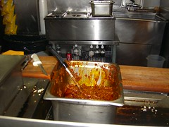 rapidly emptying vat of chili