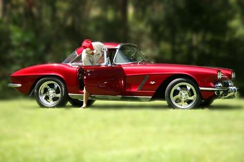 Santa Drives A Red Corvette