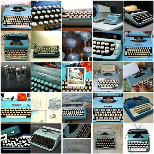 Blue typewriter