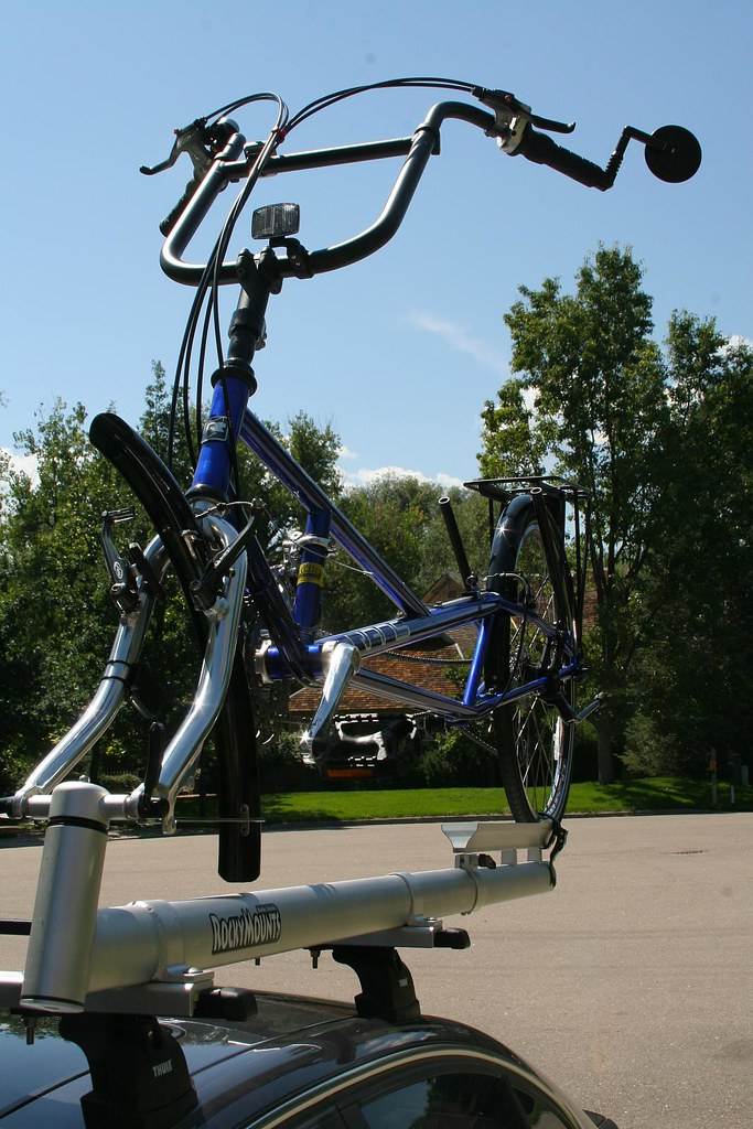My Rans Stratus XP recumbent bicycle on the bike rack on my car