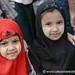 Muslim Girls with Thanaka Cheeks  - Rangoon, Burma (Yangon, Myanmar)