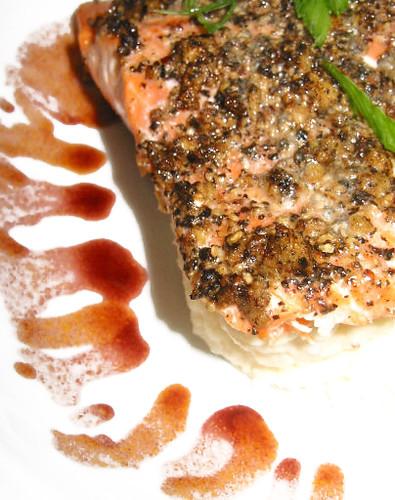 Ginger Black Pepper Crusted Salmon W Celeriac Puree