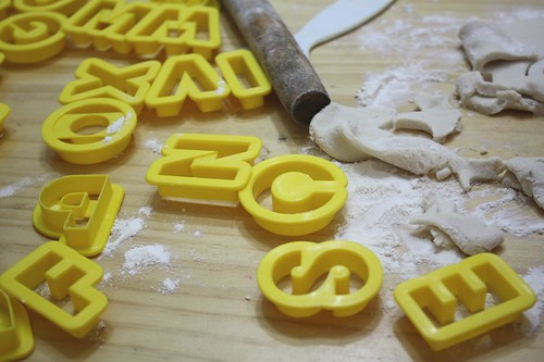 salt dough and alphabet cutters