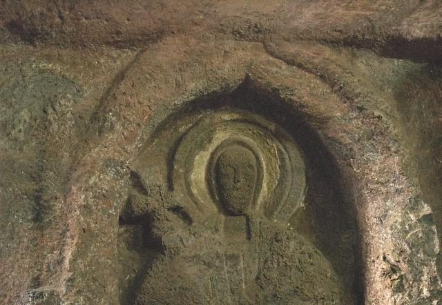 Relief carving of saint church bet golgotha lalibela