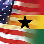 Ghana Black Star and Stars and Stripes - Obama in Ghana