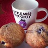 Watching @todayshow, catching up on Twitter, & enjoying homemade blueberry muffins.