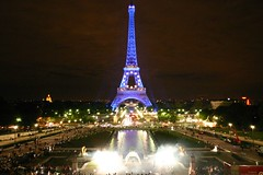 The blue Eiffel Tower from the Trocedero