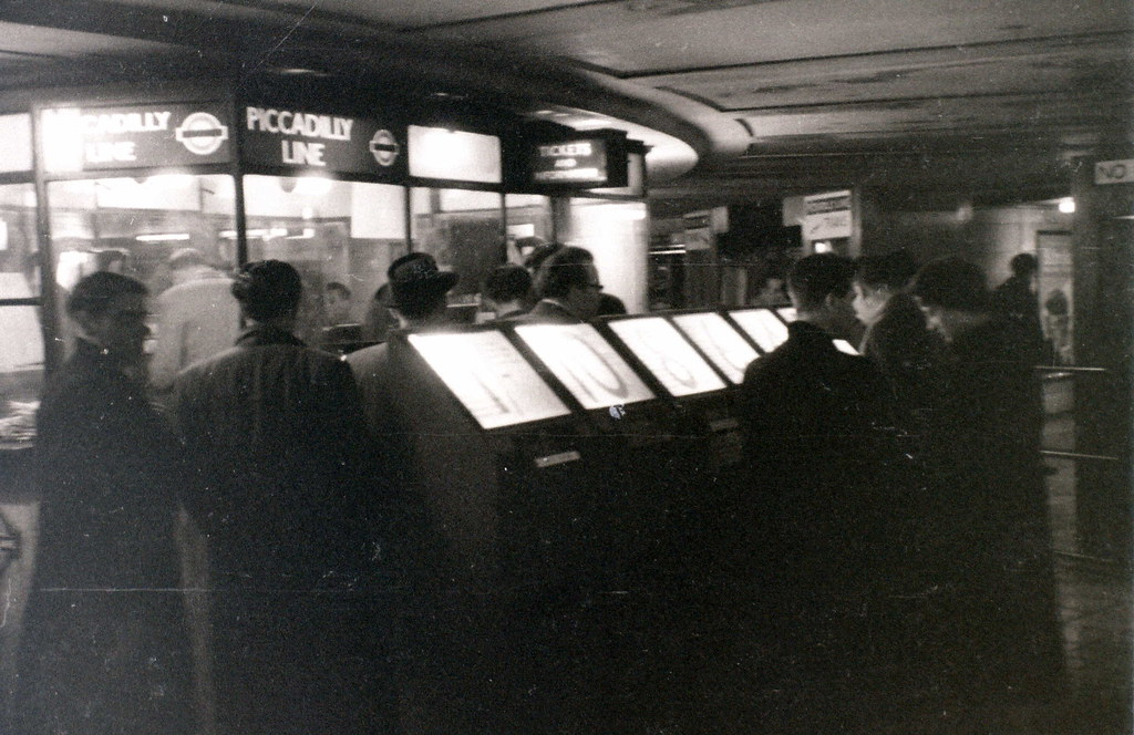 Underground station, probably Leicester Square, London, 3 January 1957